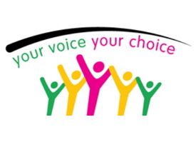 Graphic with text: Your voice, your choice