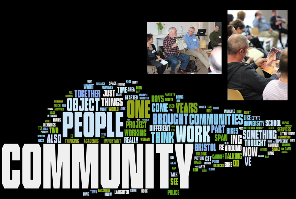 Community-related Wordle with group photos