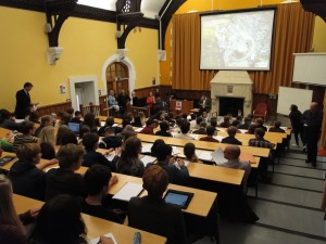 Audience builds in the Peel Lecture Theatre, School of Geographical Sciences for talk on floods
