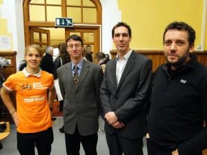 Speakers at GA Conference on Urban Traffic solutions (L-R: Sam Harris, Univ. Bristol;  Prof. Graham Parkhurst, UWE;  George Lunt, AECOM;  Ian Barrett, Sustrans)