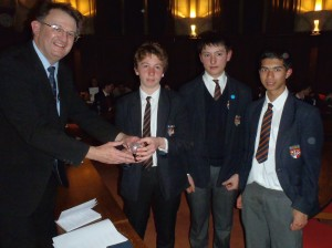 GA President, Garry Atterton, awards Presentation Globe to the winners QEH Bristol