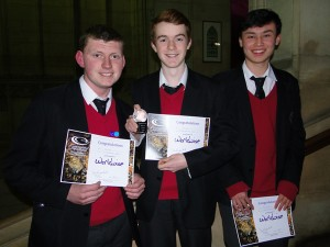 Bath and Bristol WWQ winners 2015: Alec Temple, Josh Price and Tim Woods (St. Mary Redcliffe and Temple School, Bristol)
