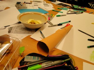 Resources for  poster making - no shortage of colouring pens