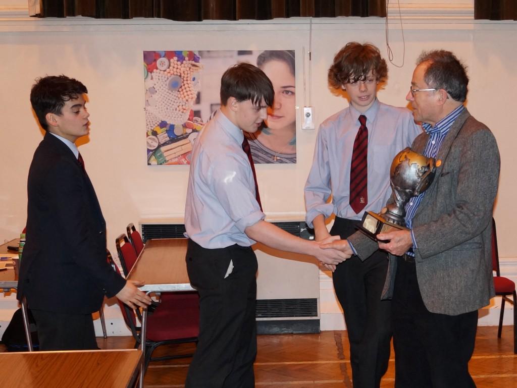 Bristol Grammar School (Yr 11 team) presented with the Bristol WWQ cup
