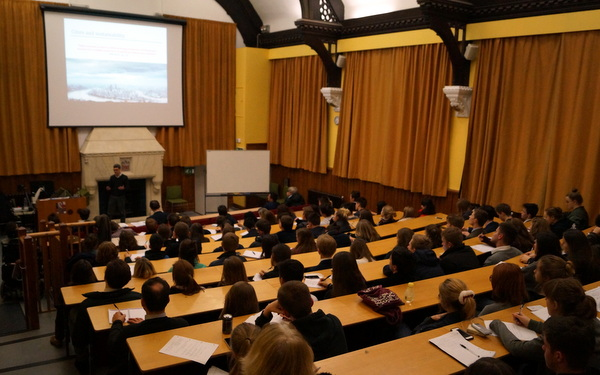Only a few spare seats in the Peel Lecture Theatre