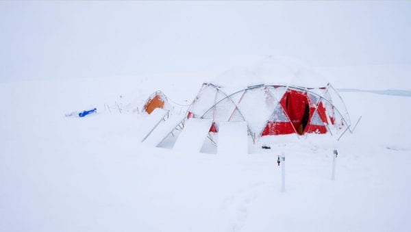 Science tent at Black and Bloom camp, Greenland