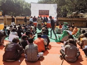 Released bonded labourers from across the country protest at Jantar Mantar in Delhi on 1st March 2019 to demand compensation in long-pending legal proceedings.