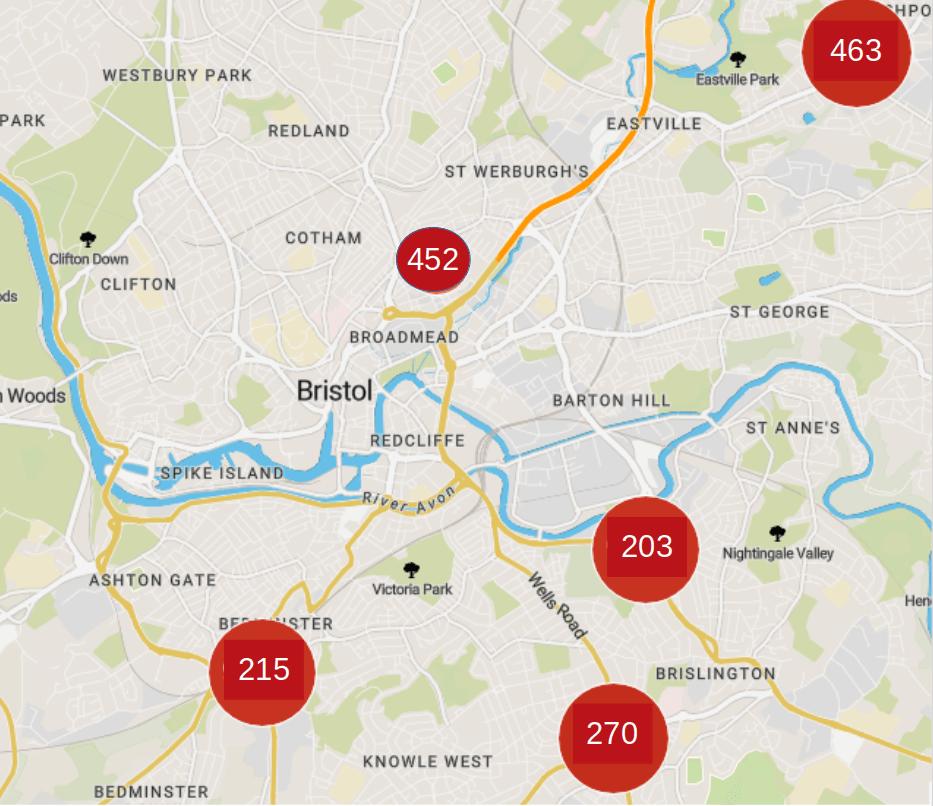 Bristol air quality map