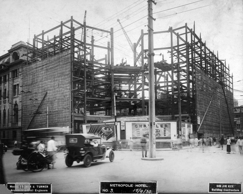 Metropole Hotel under construction, Shanghai, September 1930