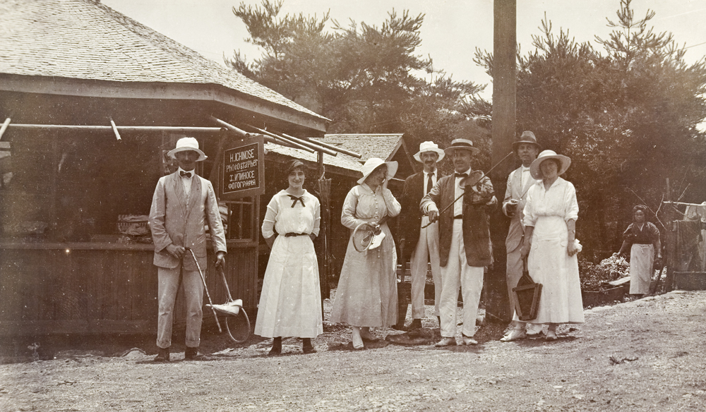 Lawn tennis party outside H. Ichinose, photographer's shop, c.1910