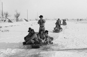 Sledges with passengers, Tientsin (Tianjin), 1934