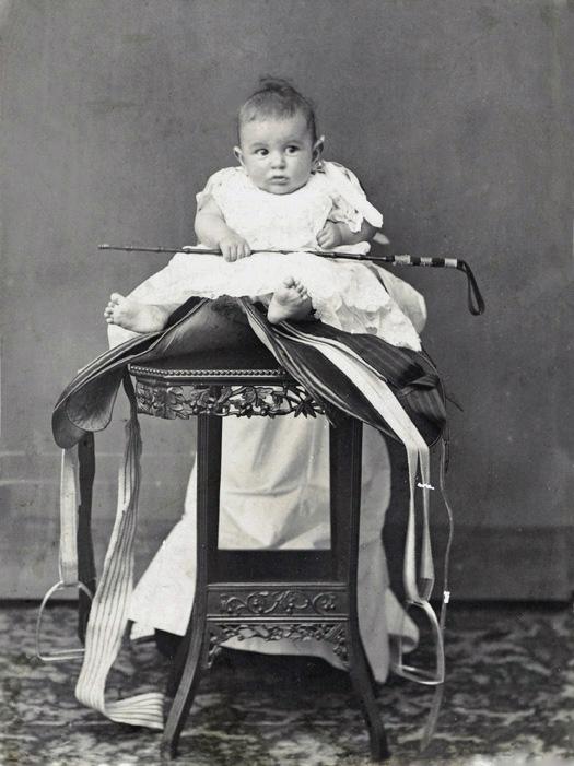John Lee Guinness Oswald, posed on a saddle, c.1908, Foochow (Fuzhou), Oswald collection, Os05-112.
