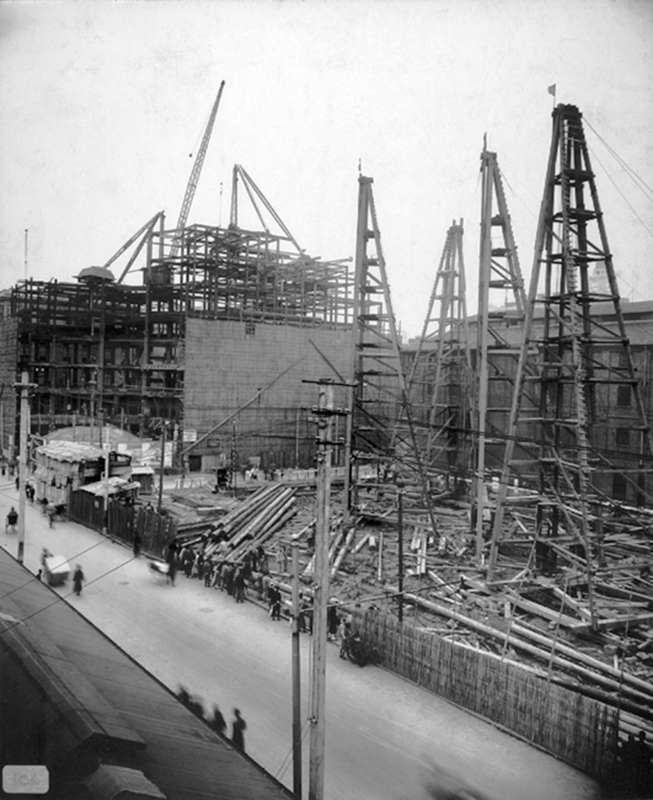 Metropole Hotel and Hamilton House under construction, Shanghai, October 1930. BSPA collection, BS-s13: © 2011 British Steel Project Archive.