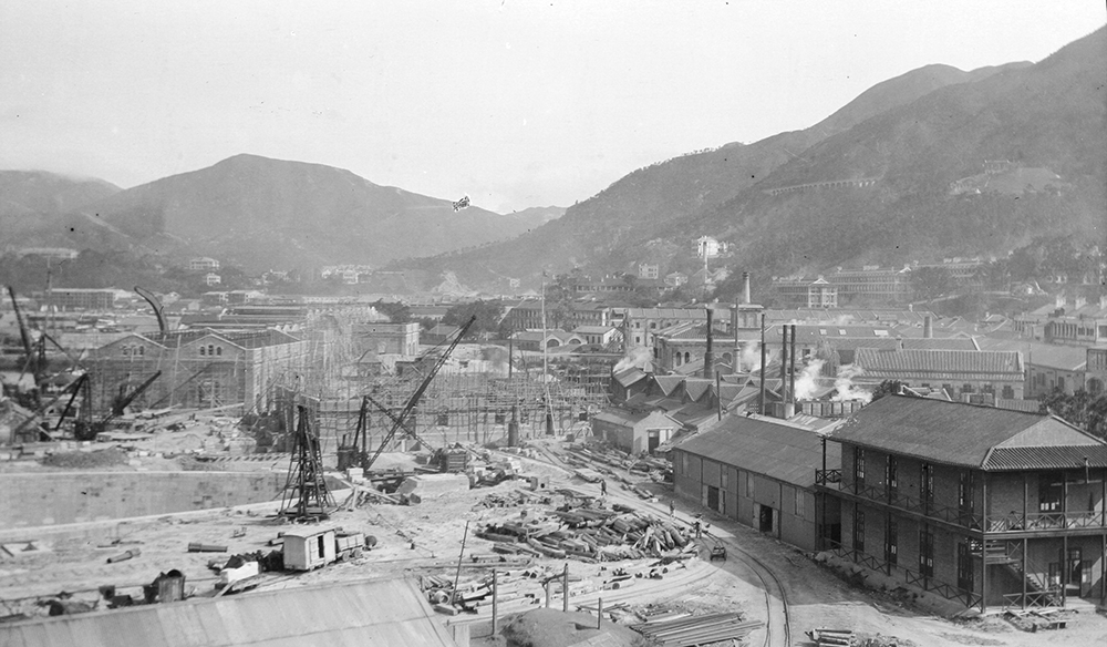 Royal Navy dry dock under construction, Hong Kong, c.1907.  Sw14-019.