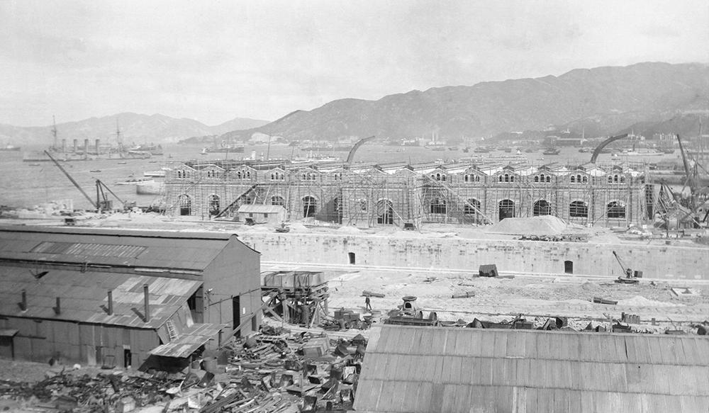 Royal Navy dry dock under construction, Hong Kong, c.1907. Sw14-020.