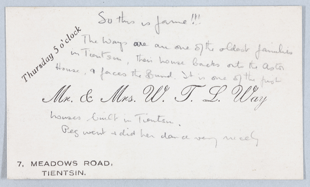 Invitation from Mr and Mrs W.T.L. Way, Tientsin. Hh-s260.
