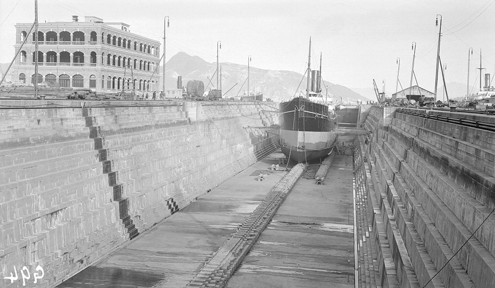 Steamship in dry dock at Taikoo Dockyard, Hong Kong. 1911-12. Sw07-142.