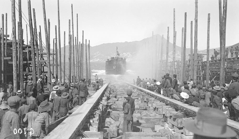 Launching a ship, Taikoo Dockyard, Hong Kong, 1911-12.  Sw07-152.