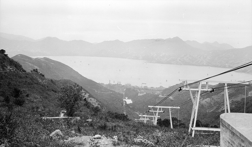 Hong Kong from Mount Parker, with cable car, 1911-12.  Sw17-023.