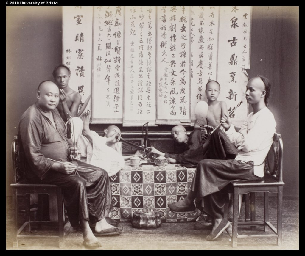 Smoking opium, from an album in University of Bristol Library Special Collections, UB01-04, UB01-04
