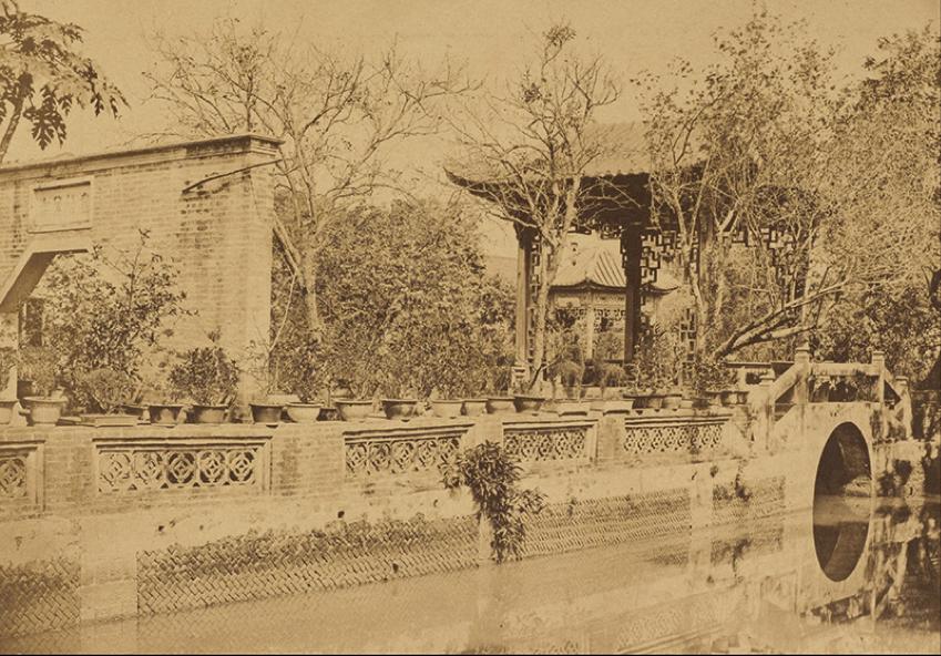 Photo 3 caption : Howqua's gardens, Canton. Albumen print, 1860, by Felice Beato (1832-1909). Digital image courtesy of the Getty's Open Content Program.