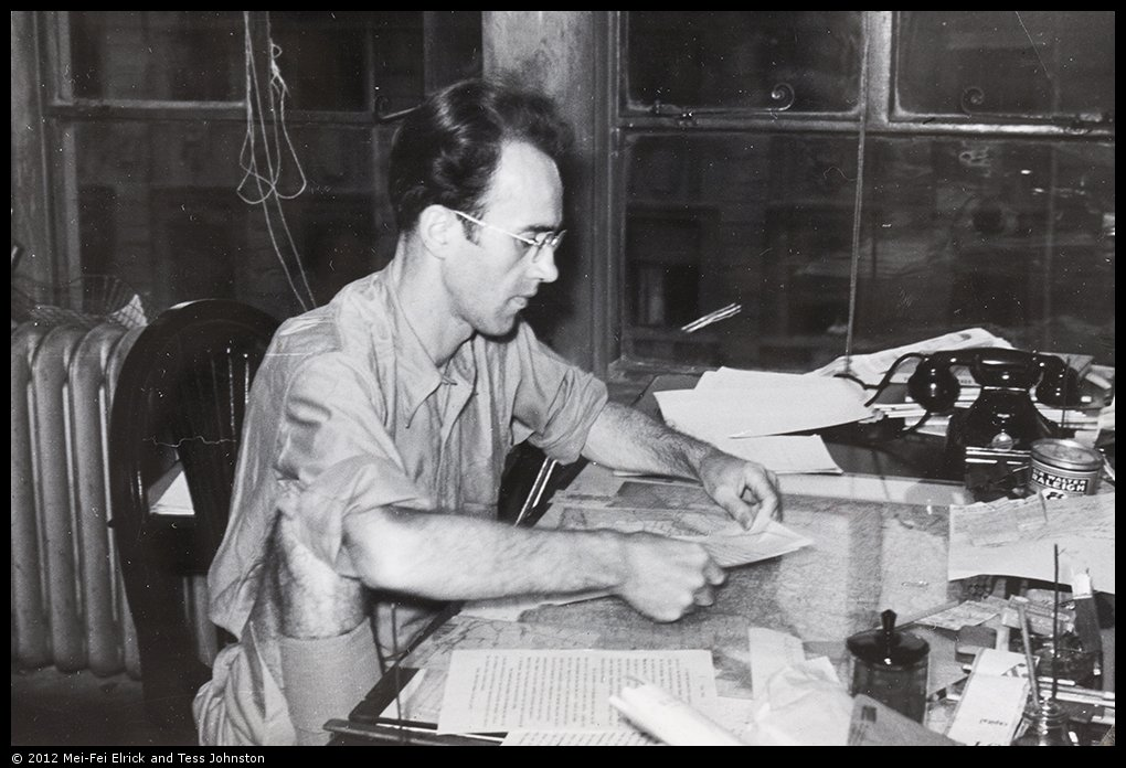 Malcolm Rosholt working at The China Press, summer 1940