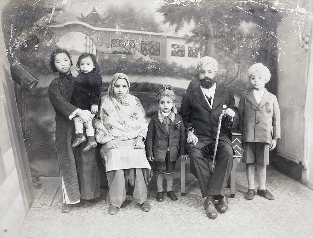 Sangha family group, with amah, 29 November 1936. Photograph by Cardon, Shanghai, 29 November 1939, Ranjit Singh Sangha Collection, Jn-s20.