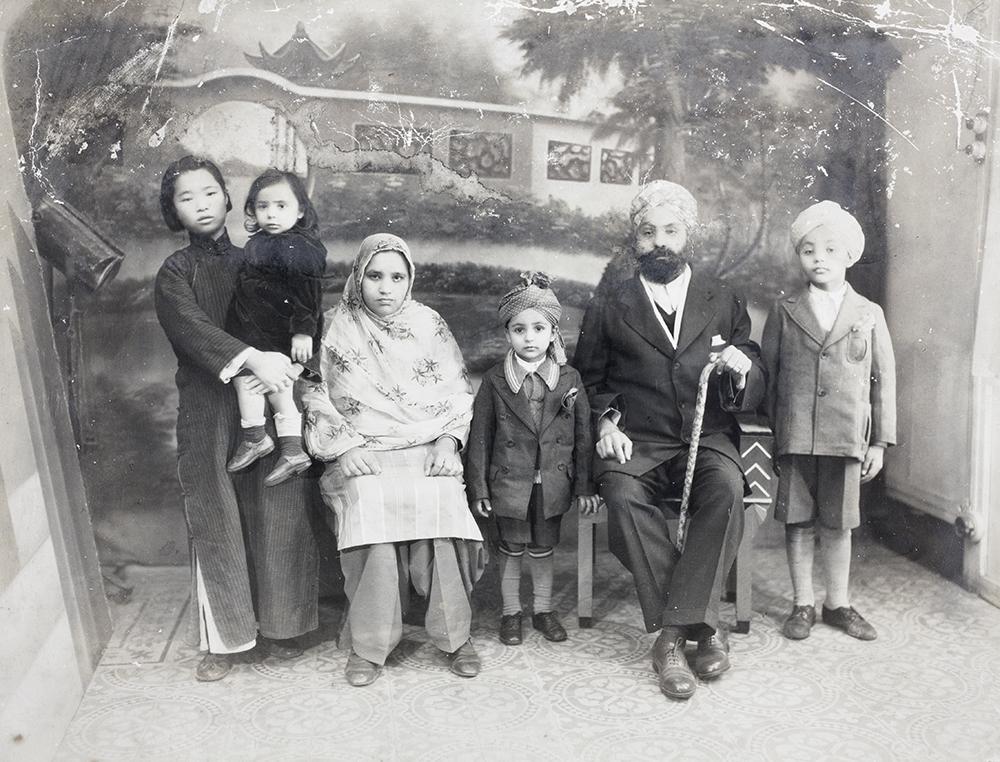 Sangha family group, with amah, 29 November 1936. Photograph by Cardon, Shanghai, 29 November 1939, Ranjit Singh Sangha Collection, Jn-s20.