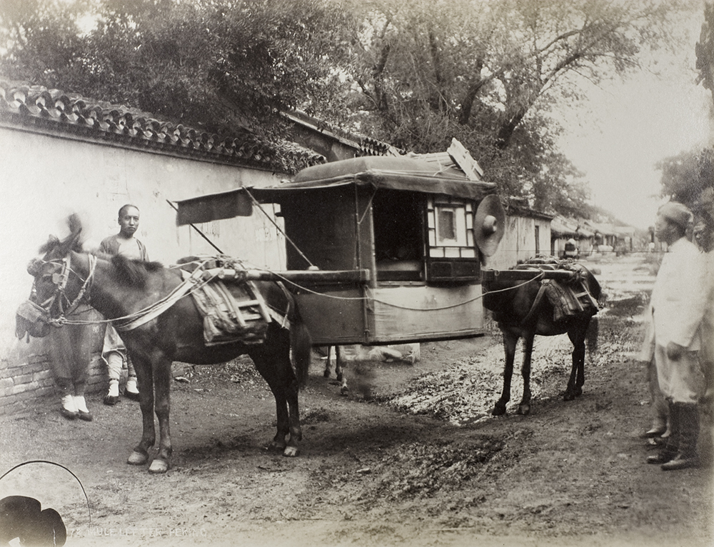 1.Mule litter, Peking, estimated 1870-1890. An unusual example of Thomas Child's Peking photographs in showing street life.  National Archives Collection, NA01-91  © Crown copyright 2011