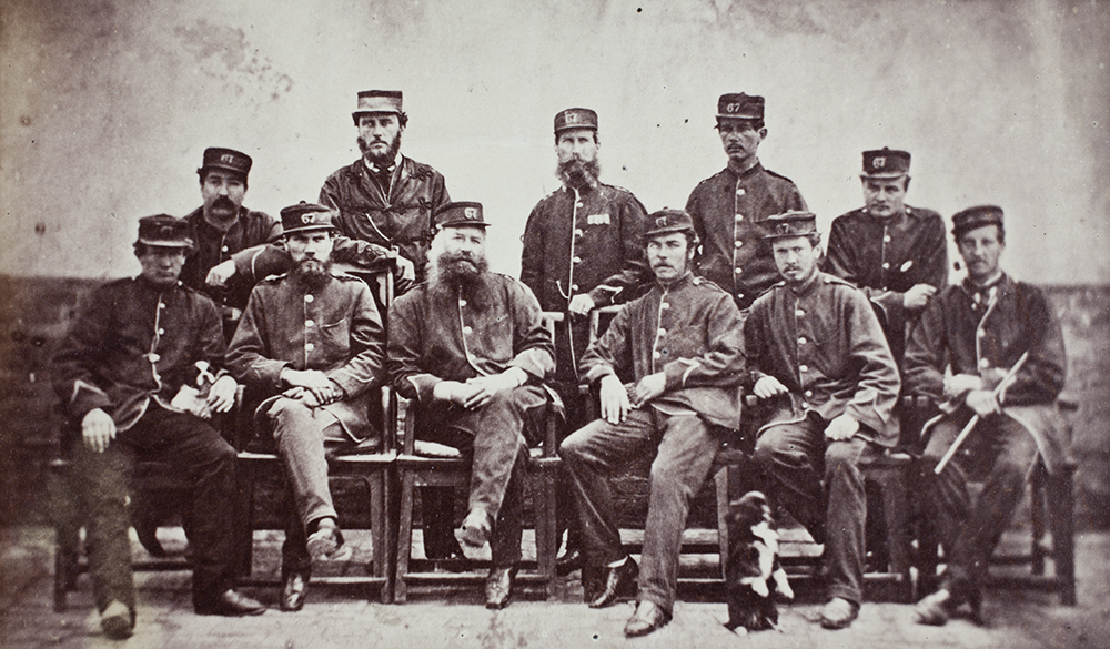5. Officers of the 67th, Tientsin, 1861. By this time, the war was over and the men have a relaxed, not to say somewhat dishevelled appearance, some with straggly beards reminiscent of those who fought in the Crimea. (GA01-035).