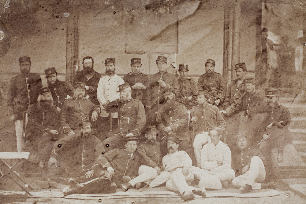 6.Officers of the 67th, Tientsin, 1861. The loucheness and swagger in their demeanour suggests a pride in the VC's which had been announced in August 1861 (GA01-036).
