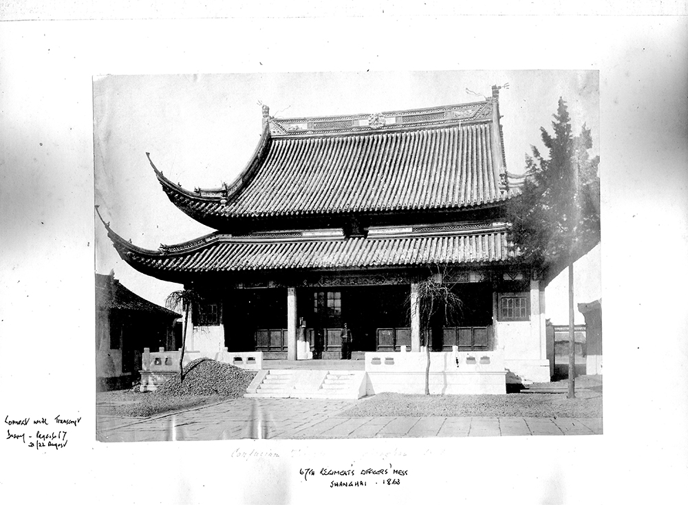 7. 67th Regiment's Officers' Mess in the Confucian Temple, Shanghai, 1863. 'All the fellows seem very agreeable', wrote Blundell in his journal (Blundell album, copyright Hampshire Regiment).