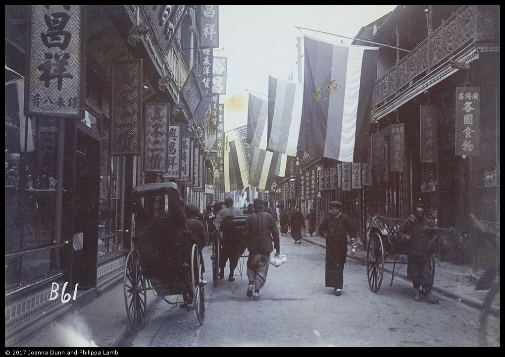 Shopping street decorated with Republican flags, c.1911 Wyatt-Smith Collection, WS01-157 © 2017 Joanna Dunn and Philippa Lamb