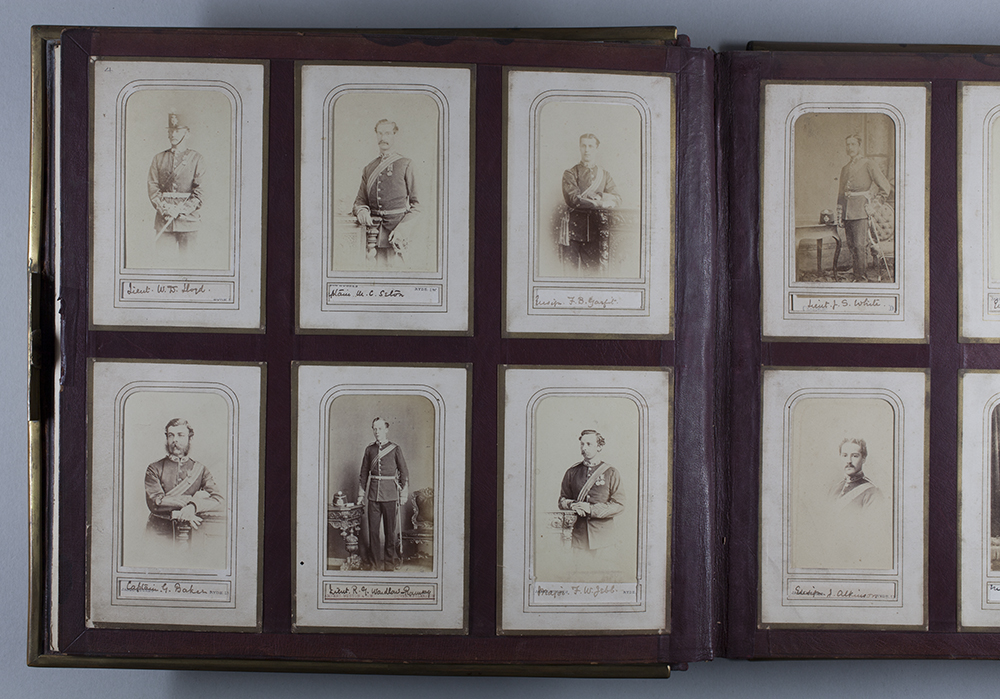 Page of cartes de visite in Royal Hampshire Regiment Museum album M1503.