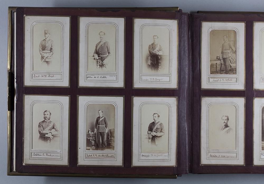 Page of cartes de visite in Royal Hampshire Regiment Museum album M1503.