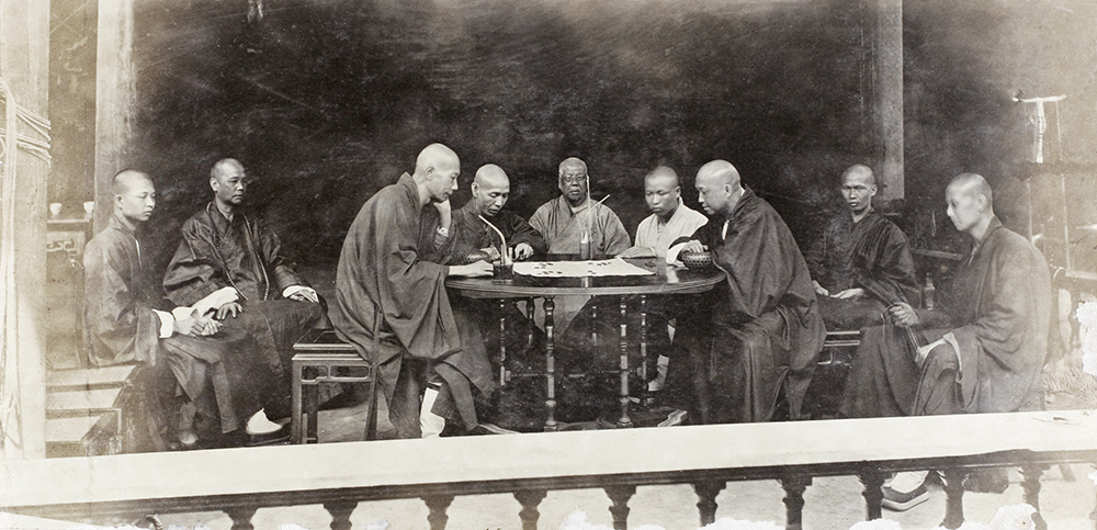 Buddhist monks playing chess, Temple of the Five Hundred Gods, Guangzhou. Edward Bowra Collection (Bo01-099), courtesy of the Royal Society for Asian Affairs.