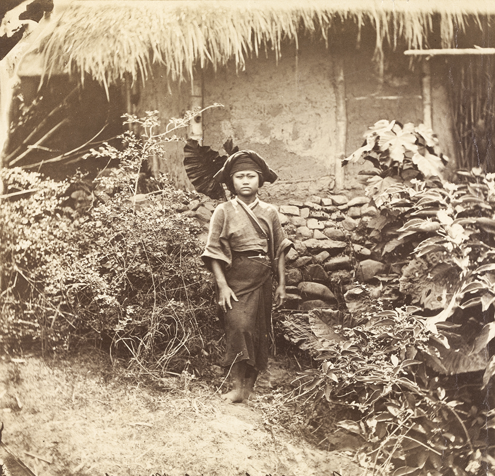 Gochi, a young Baksa woman, Taiwan, 1871. A photograph by John Thomson, which was published in his Illustrations of China and Its People, Vol. II, Plate IV 'Types of Pepohoan' (1873/4).  Maxwell Family Collection (Mx01-076), courtesy of Cadbury Research Library, University of Birmingham.