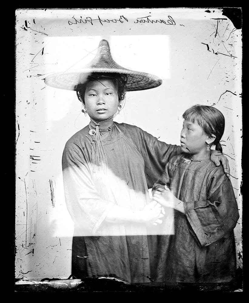 Listed as 'boat girls' in Illustrations of China, I, plate 7, this photograph was taken in Kwantung in 1869 and was one of a number of boat women around Canton and Hong Kong. Photograph by John Thomson, negative no. 684. Credit: Wellcome Collection. CC.BY.