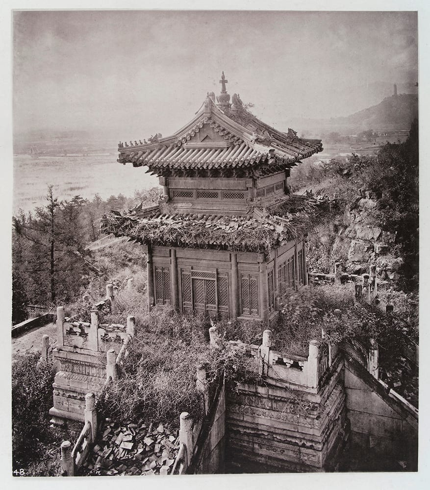 Fig. 7. The Bronze Temple, Yuen-min-Yuen at Wan-shou shan. One of the few buildings remaining in the ruins of the Summer Palace destroyed by the British in 1860. 'Left ruinous and desolate designedly as one means of keeping the hostility of the nation active, and as an ever-ready witness to the barbarities to which foreigners will resort; many educated Chinese have that feeling and look upon our conduct as an event of heartless vandalism', Illustrations of China, IV, plate 19. Photograph by John Thomson. Credit: Wellcome Collection. CC.BY.