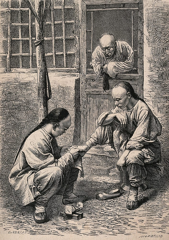 Fig. 9. Travelling chiropodists: a wood engraving based on the image at fig. 5. Drawn by E. Ronjat and engraved by T.H. Hildibrand, it formed one of the illustrations in a cheaper more accessible version of <em>Illustrations of China</em>, viz: John Thomson, The Land and People of China: a Short Account of the Geography, Religion, Social Life, Arts Industries and Government of China and its People (London: SPCK, 1876). Credit: Wellcome Collection. CC.BY.