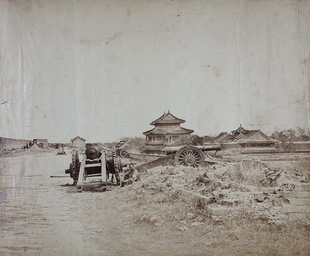 Chinese Artillery on Peking City Walls, October 1860. Photograph by Felice Beato. The 67th (South Hants) Regiment of Foot played a major part in the final stages of the attack on Peking. This photograph is in the Royal Hampshire Regiment Museum's archives and must have been purchased in the 1860s by someone in the regiment.