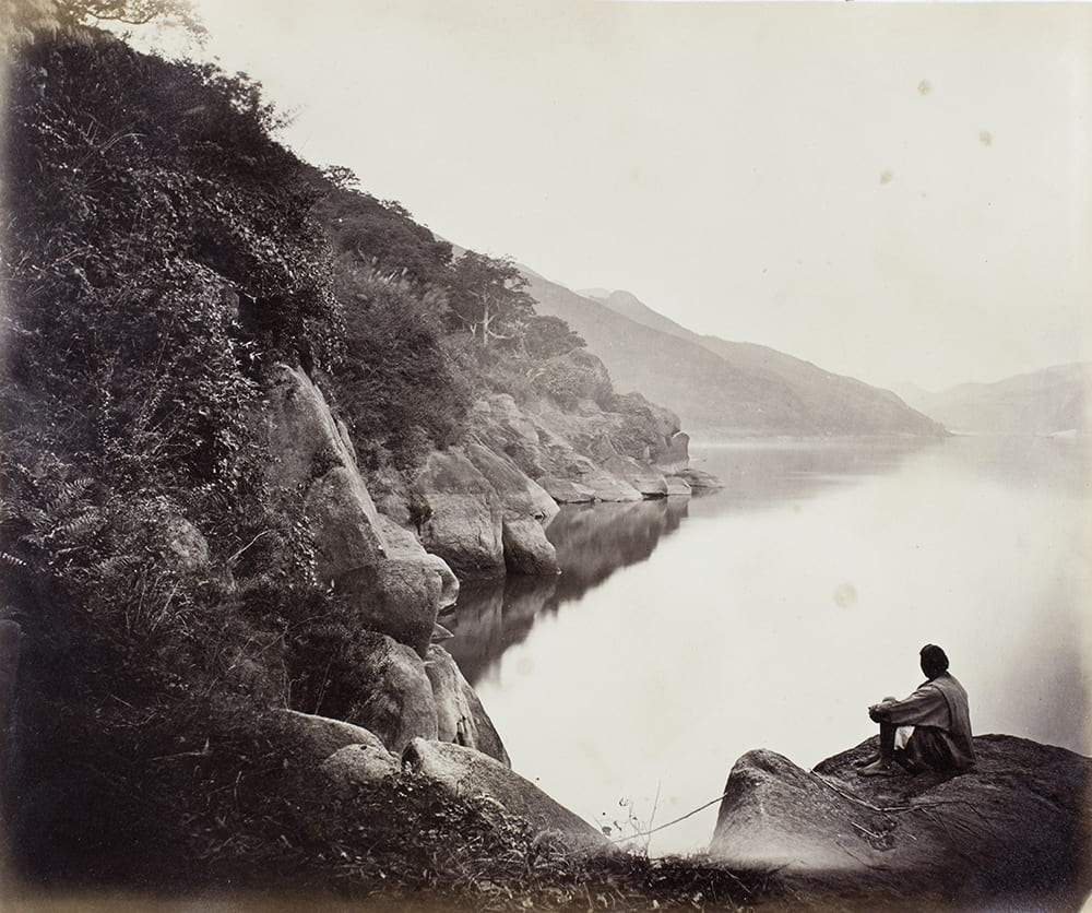 "Photograph by John Thomson, c.1870. Captioned: ""View 50 miles above Foochow. Sunset on the Min"". John Fry Collection (Fr01-096)."