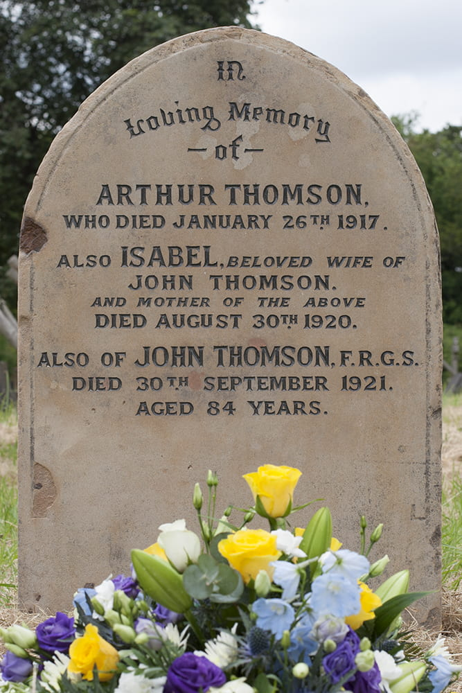 The restored gravestone for John Thomson, his wife Isabel and their son Arthur. Streatham Cemetery, Tooting, London. Photograph by Jamie Carstairs.