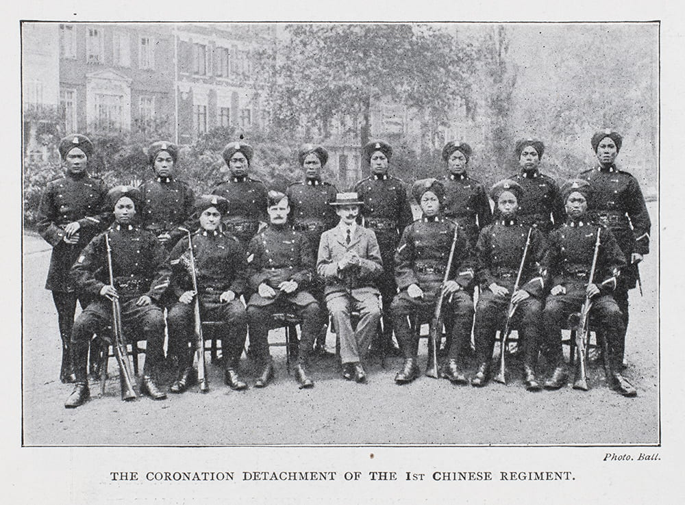 Members of the 1st Chinese Regiment attending the Coronation of King Edward VII, Illustrated London News, 16 August 1902, p.10.