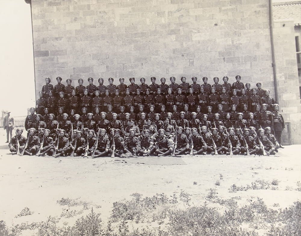 Company of 1st British Chinese Regiment. The photograph formed part of the Settlement's annual report to the Colonial Office for 1903, CO 1069/431. CHINA 11. Image © The National Archives, London, England. Historical Photographs of China ref: NA08-104.