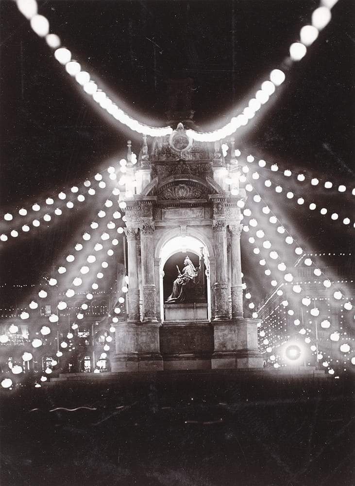 Queen Victoria's statue, Hong Kong, lit up with lanterns for the coronation of King George V and Queen Mary, June 1911. Photograph by Afong Studio (Lai Fong). HPC ref: Bi-s184.