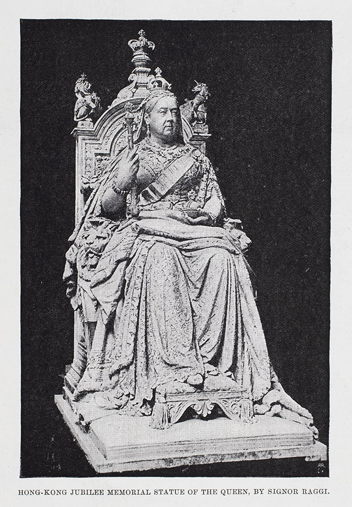 Statue of Queen Victoria, designed by Mario Raggi, for Hong Kong. 'The Illustrated London News', 28 January 1893. HPC ref: Bk13-04.