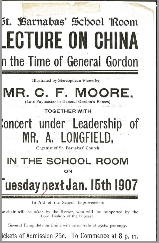 Poster for 'China in the time of General Gordon. (Royal BC Museum ref: MS-3172).