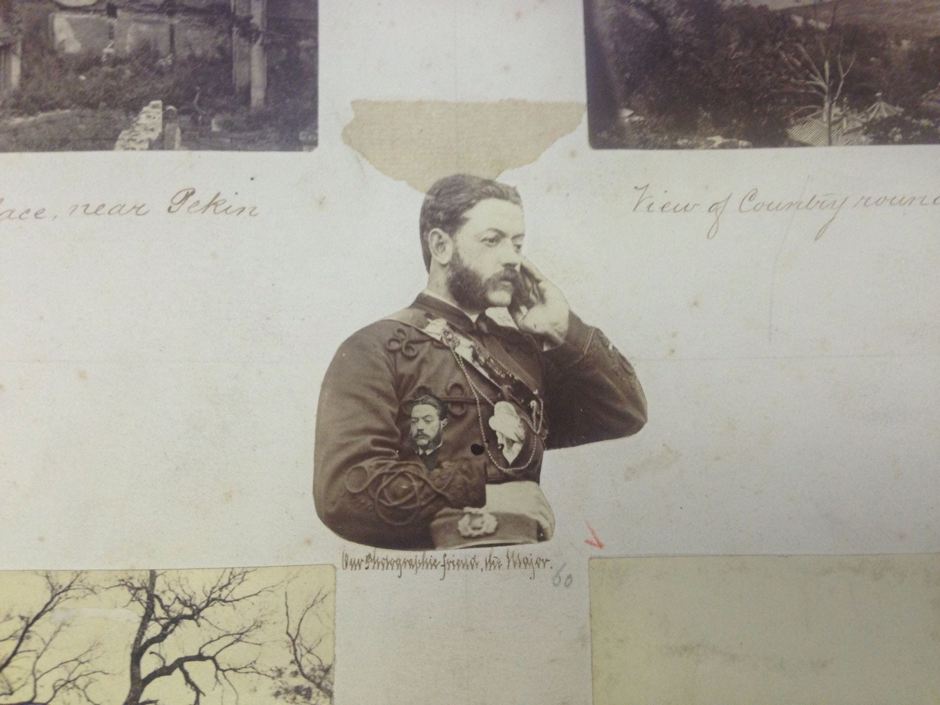 """Photomontage double portrait of Major James Crombie Watson, c.1870 (See <a href=""""https://www.hpcbristol.net/visual/bo02-001"""">Bo02-001</a>), holding a second portrait of himself and with someone/something in his pocket, pasted in to the album at the IJA. Image courtesy of the Irish Jesuit Archive, Dublin."""