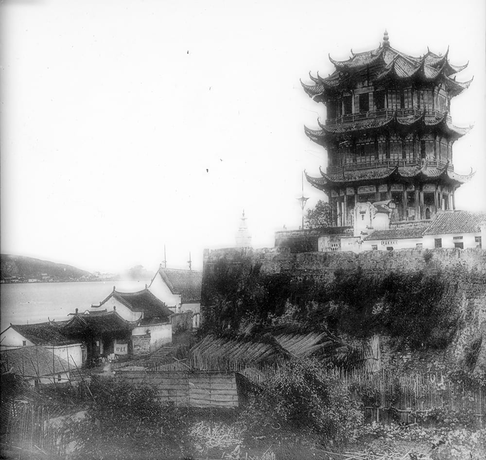 The Yellow Crane Tower (黄鹤楼), Wuchang (Wuhan). Photograph by Pow Kee, whose studio was to the right of the pagoda. A scan of a magic lantern slide © 2019 Royal Asiatic Society. Historical Photographs of China ref: RA-m122.